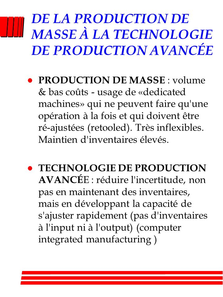 DE LA PRODUCTION DE MASSE À LA TECHNOLOGIE DE PRODUCTION AVANCÉE