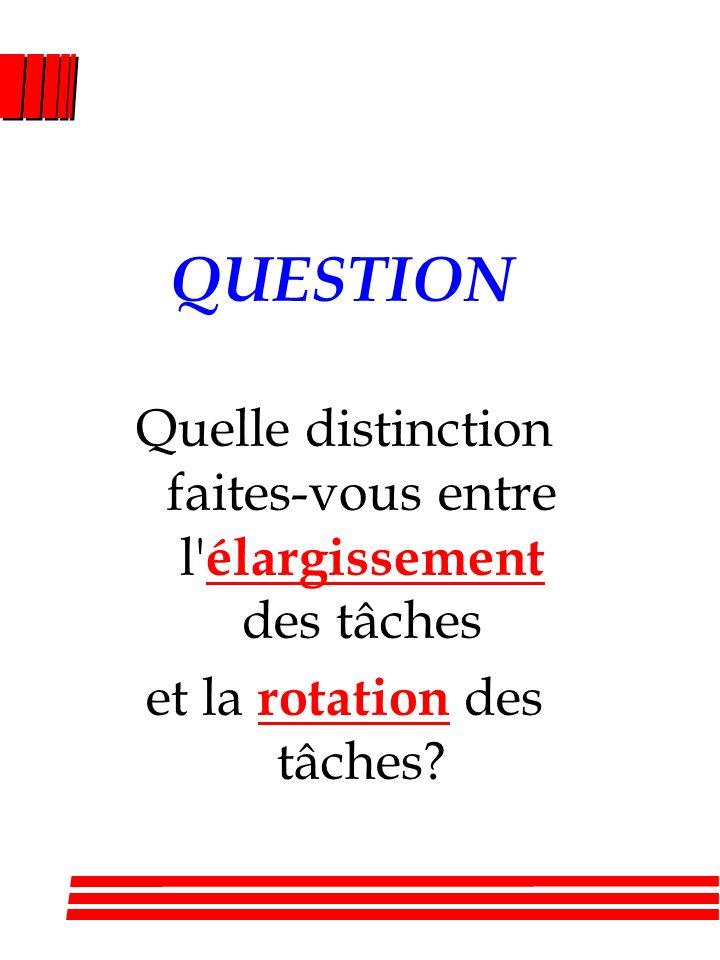QUESTION Quelle distinction faites-vous entre l élargissement des tâches et la rotation des tâches