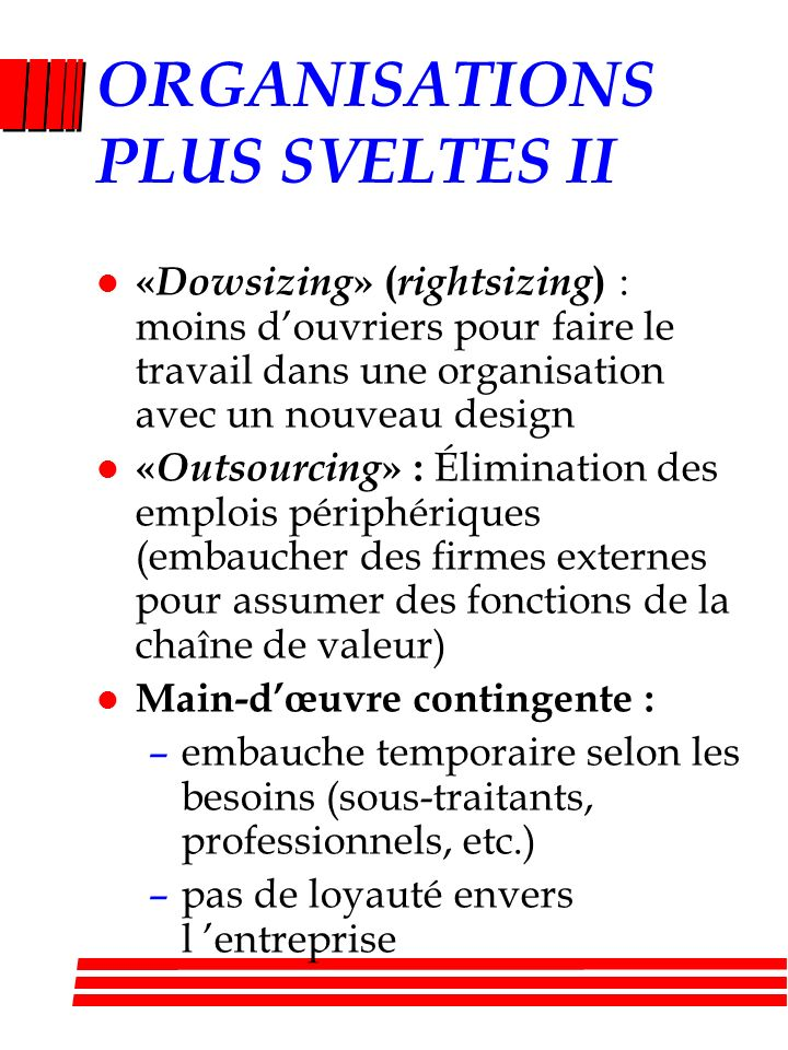 ORGANISATIONS PLUS SVELTES II