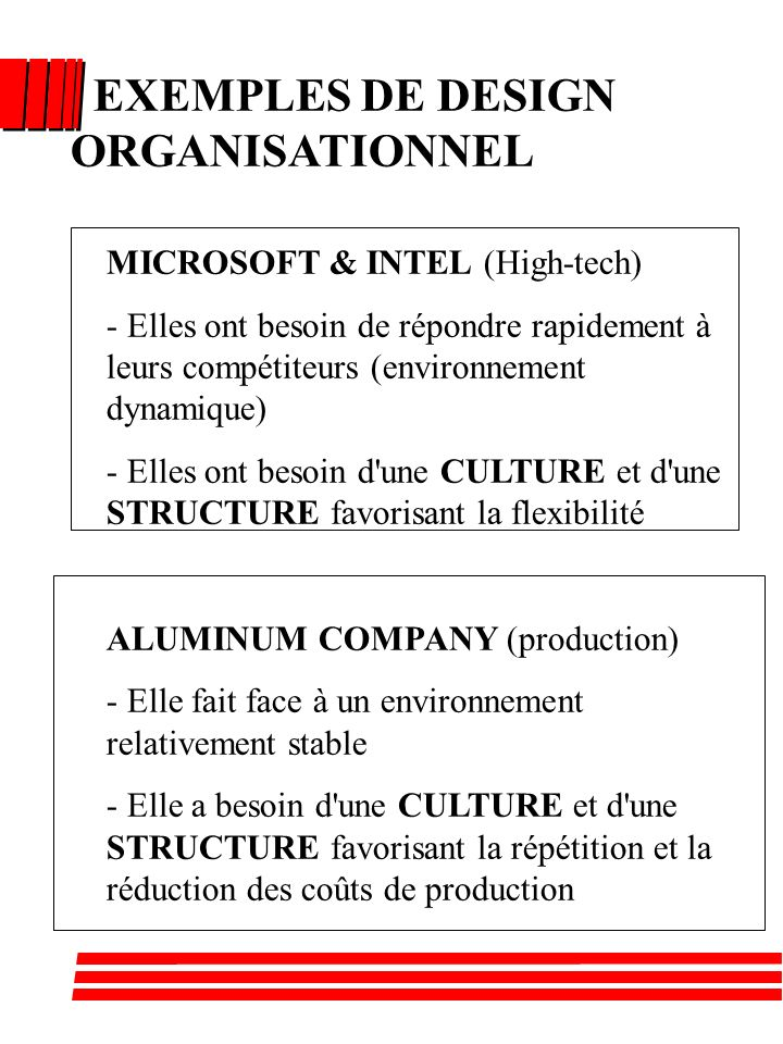 EXEMPLES DE DESIGN ORGANISATIONNEL