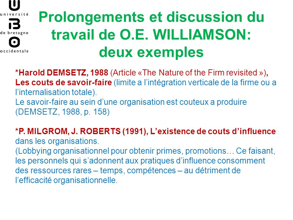 Prolongements et discussion du travail de O. E