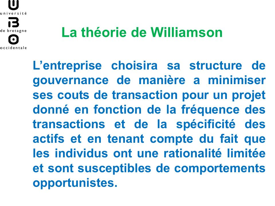La théorie de Williamson