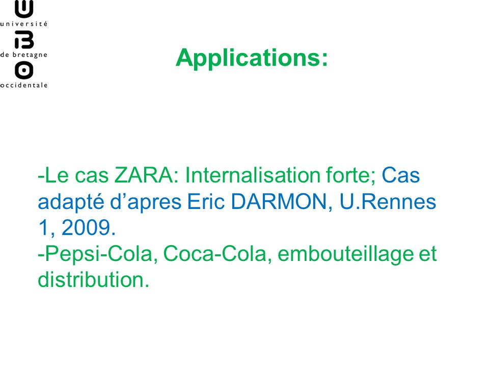 Applications: -Le cas ZARA: Internalisation forte; Cas adapté d'apres Eric DARMON, U.Rennes 1, 2009.