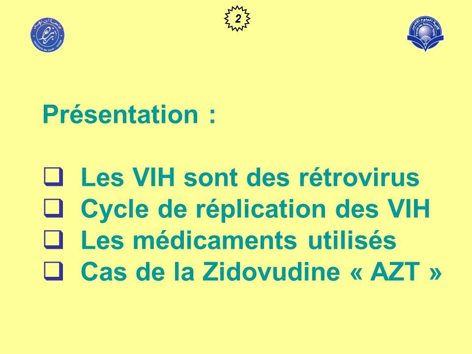 Les VIH sont des rétrovirus Cycle de réplication des VIH