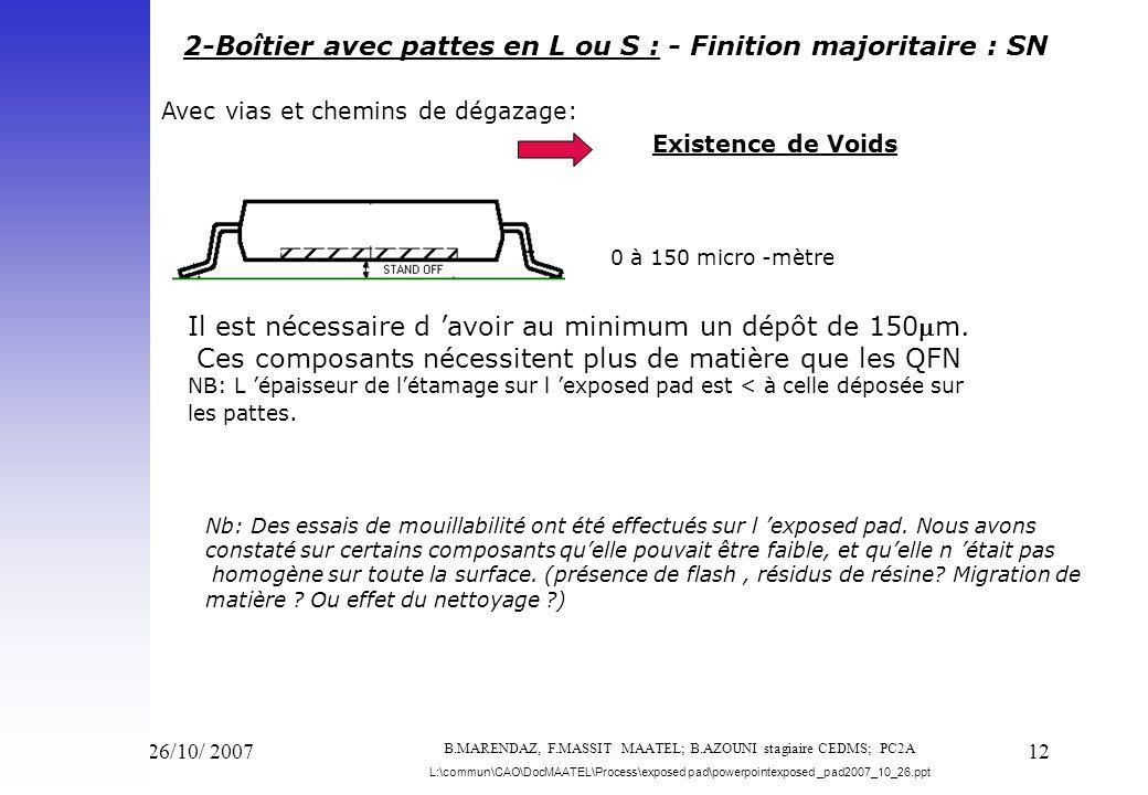 2-Boîtier avec pattes en L ou S : - Finition majoritaire : SN