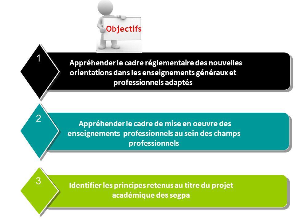Objectifs 1. Appréhender le cadre réglementaire des nouvelles orientations dans les enseignements généraux et professionnels adaptés.