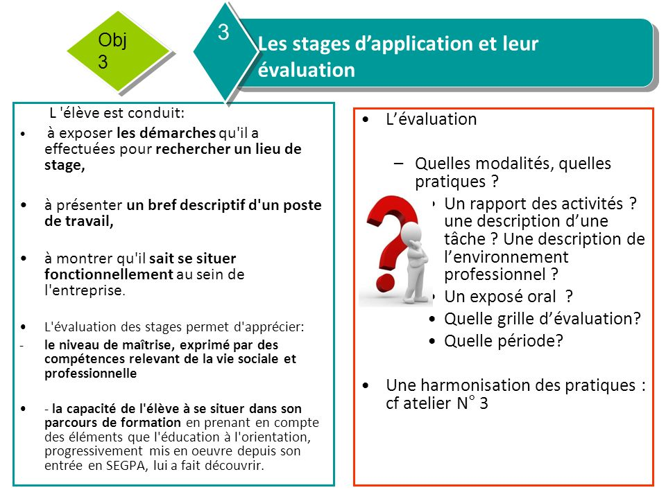 Les stages d'application et leur évaluation 3