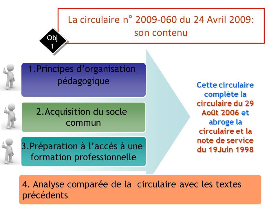 La circulaire n° 2009-060 du 24 Avril 2009: son contenu