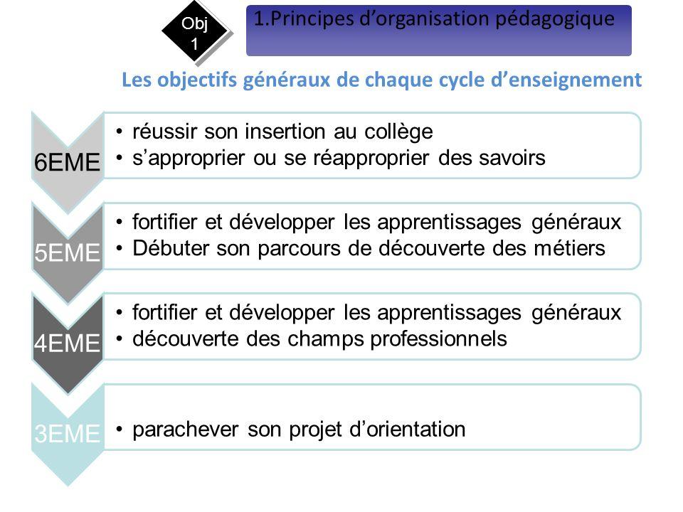 Les objectifs généraux de chaque cycle d'enseignement