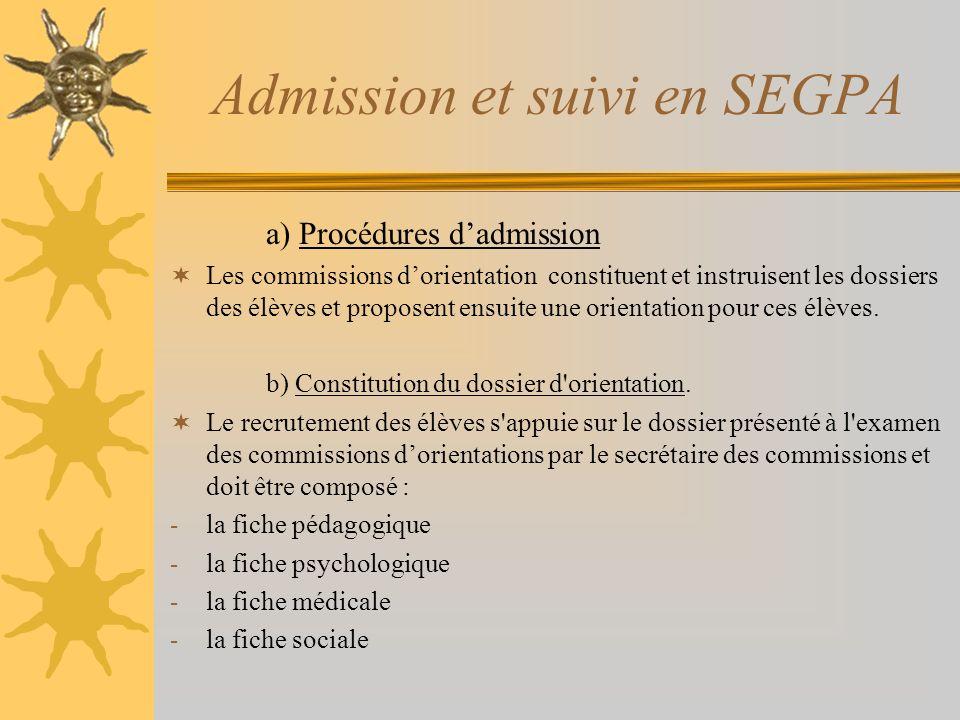 Admission et suivi en SEGPA