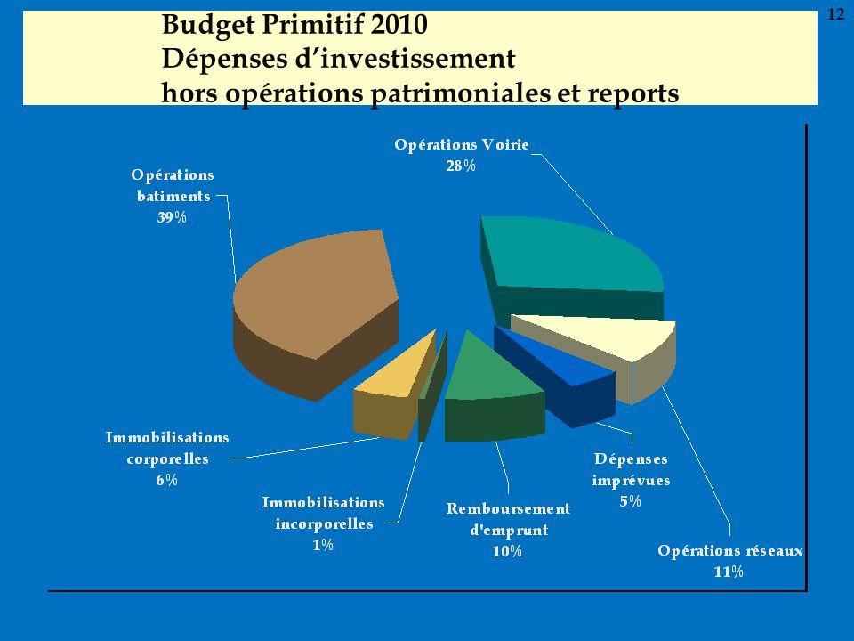 12 Budget Primitif 2010 Dépenses d'investissement hors opérations patrimoniales et reports 12