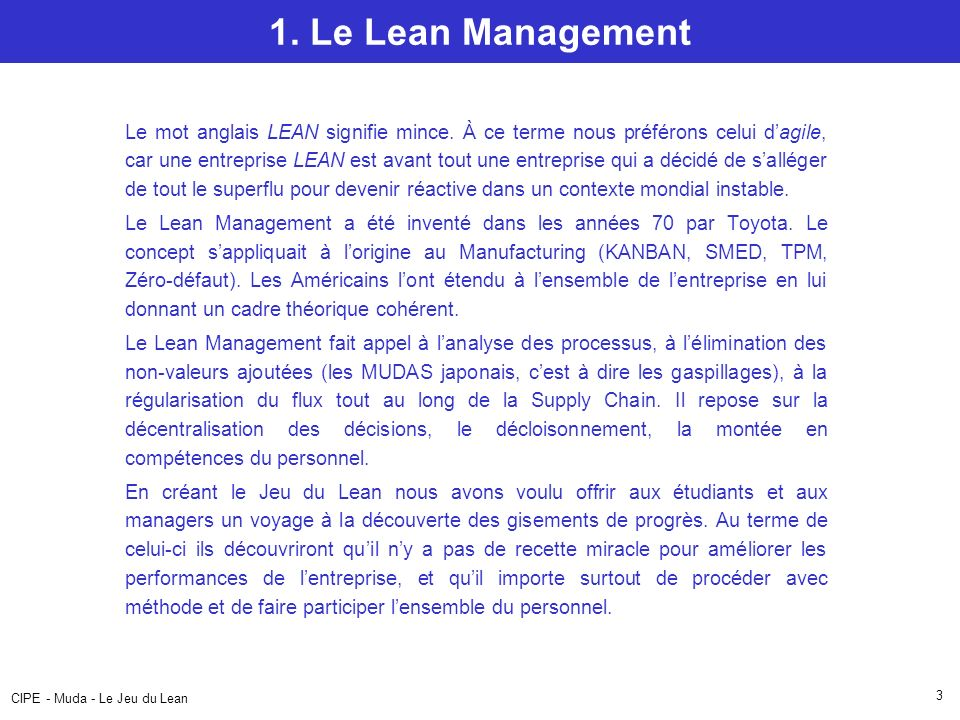 1. Le Lean Management