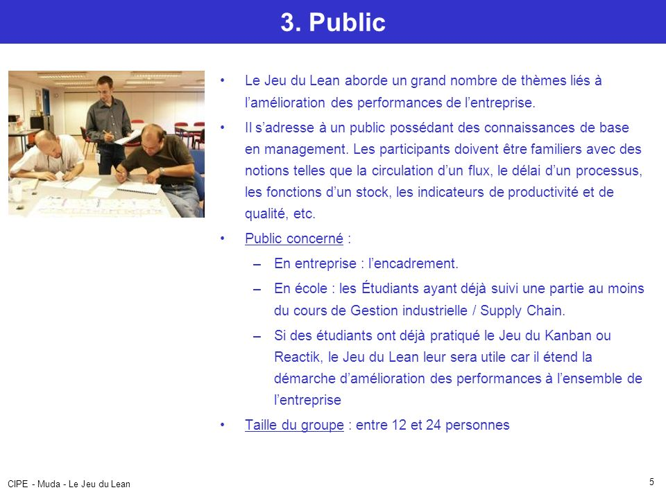 3. Public Le Jeu du Lean aborde un grand nombre de thèmes liés à l'amélioration des performances de l'entreprise.