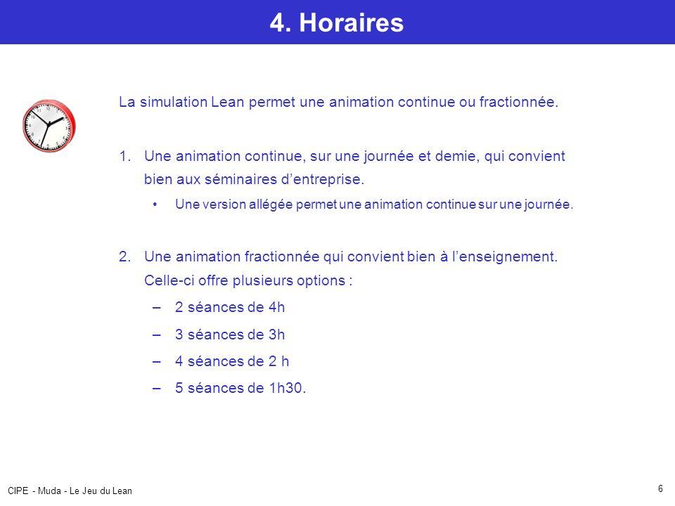 4. Horaires La simulation Lean permet une animation continue ou fractionnée.