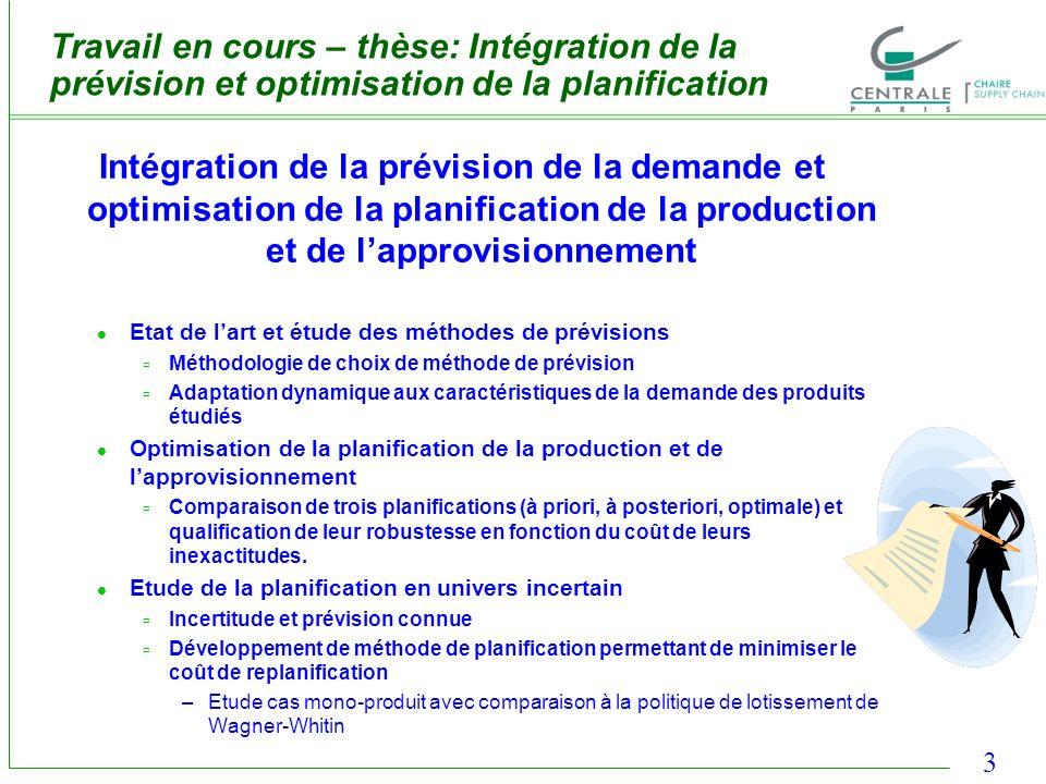 Travail en cours – thèse: Intégration de la prévision et optimisation de la planification