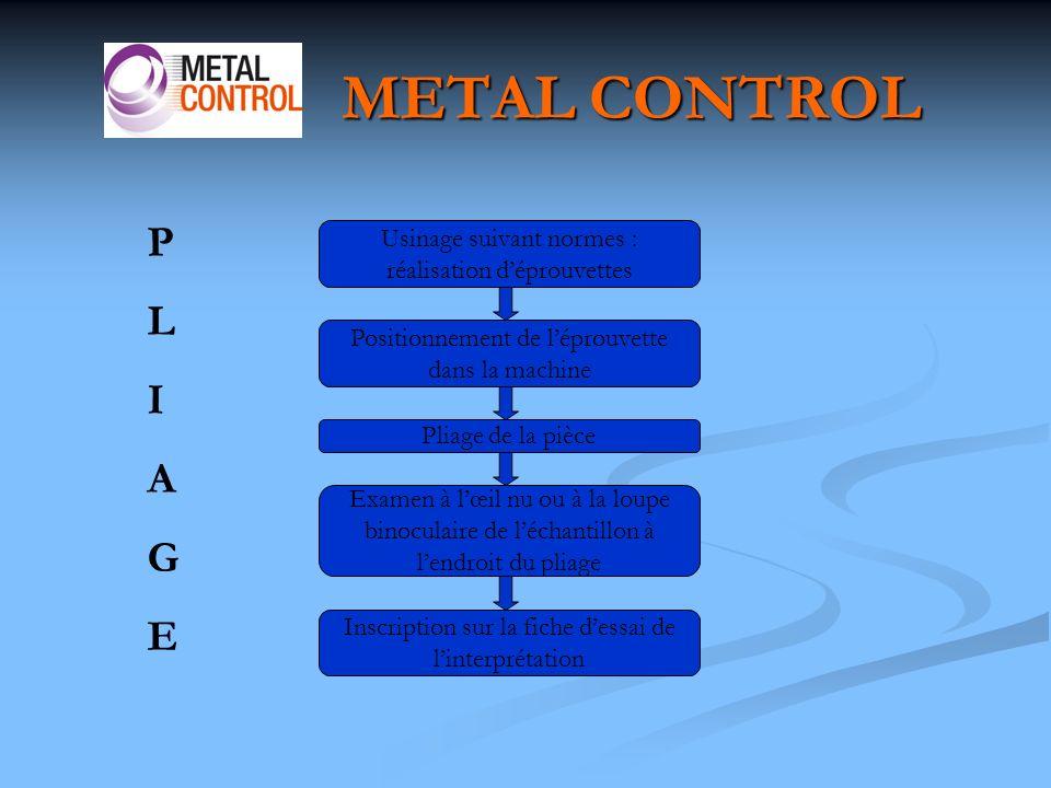 METAL CONTROL P. L. I. A. G. E. Usinage suivant normes : réalisation d'éprouvettes. Positionnement de l'éprouvette dans la machine.