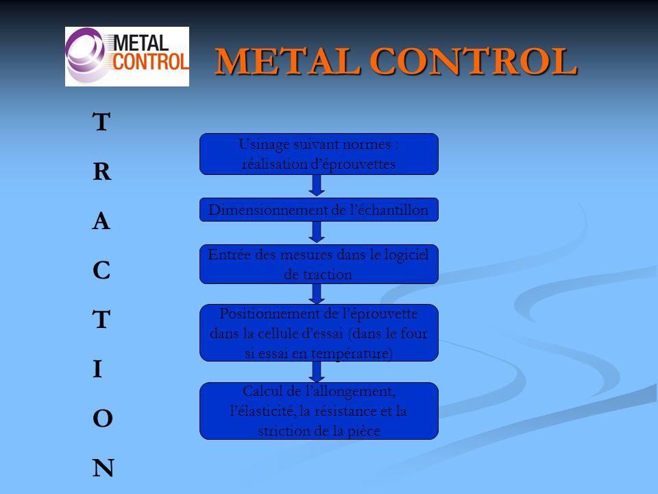 METAL CONTROL T. R. A. C. I. O. N. Usinage suivant normes : réalisation d'éprouvettes. Dimensionnement de l'échantillon.