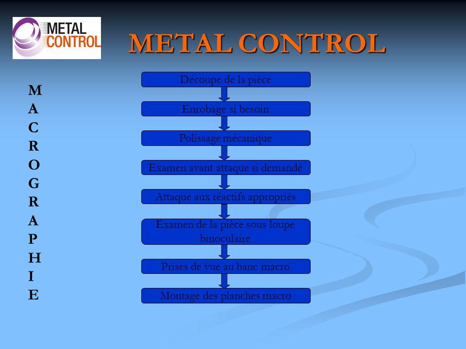 METAL CONTROL M A C R O G P H I E Découpe de la pièce