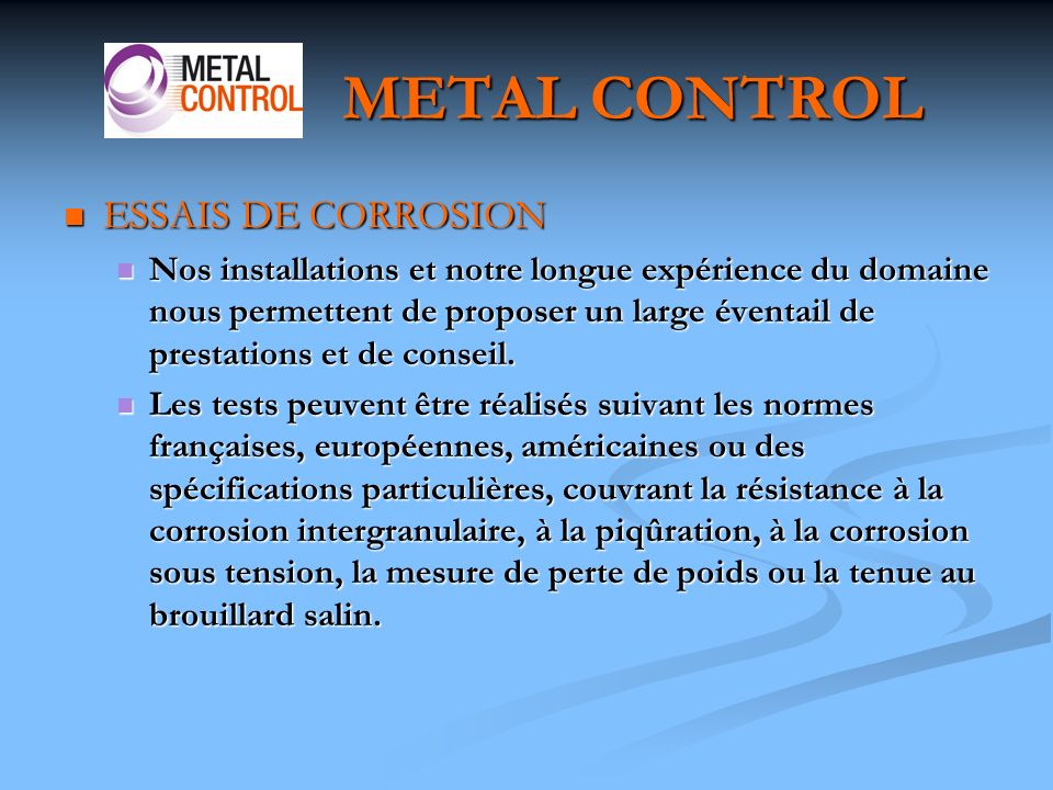 METAL CONTROL ESSAIS DE CORROSION