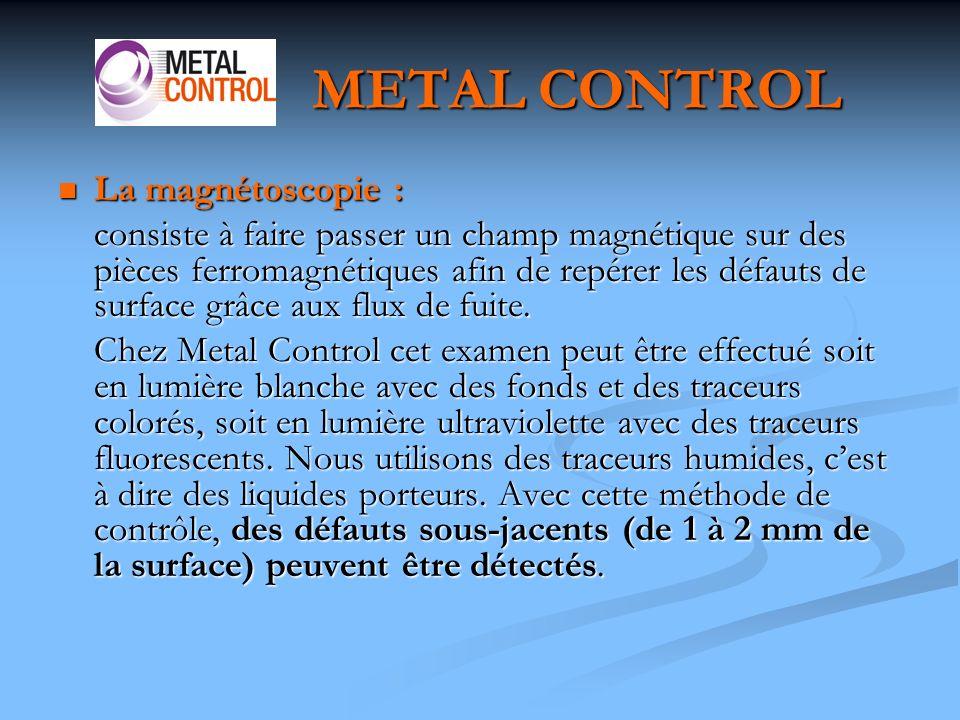 METAL CONTROL La magnétoscopie :