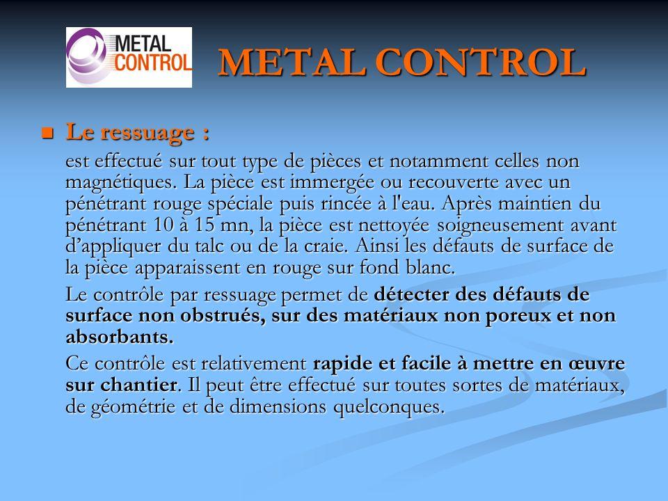 METAL CONTROL Le ressuage :