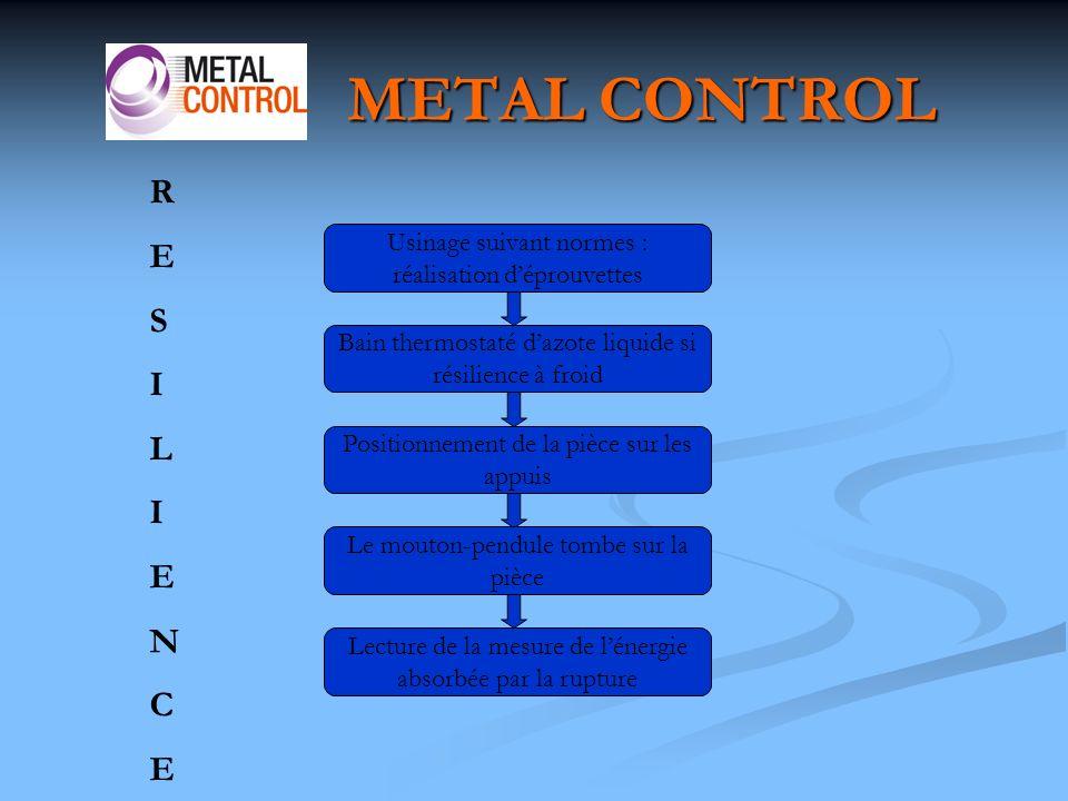 METAL CONTROL R. E. S. I. L. N. C. Usinage suivant normes : réalisation d'éprouvettes. Bain thermostaté d'azote liquide si résilience à froid.