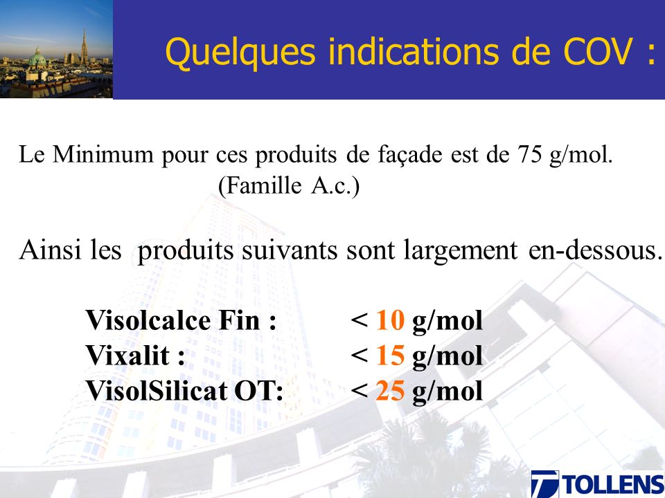 Quelques indications de COV :