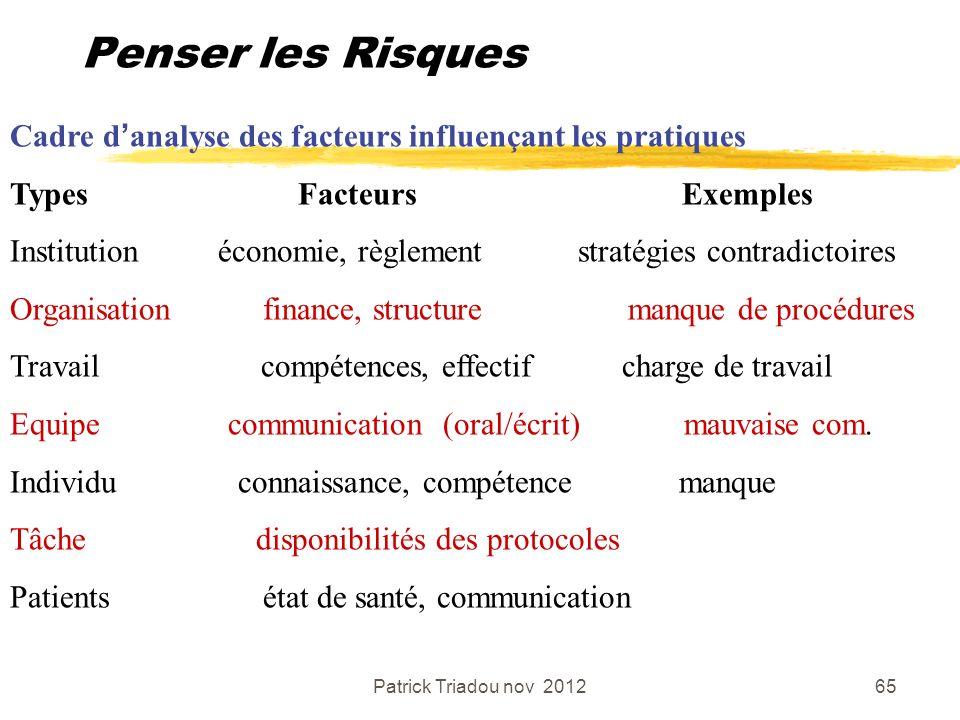 Penser les Risques Cadre d'analyse des facteurs influençant les pratiques. Types Facteurs Exemples.