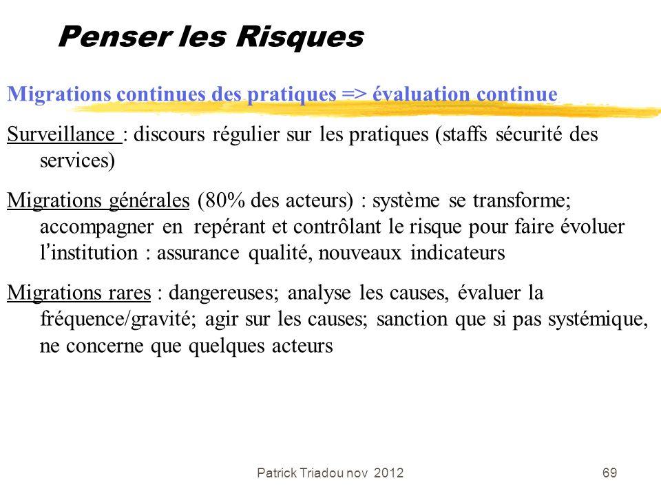 Penser les Risques Migrations continues des pratiques => évaluation continue.