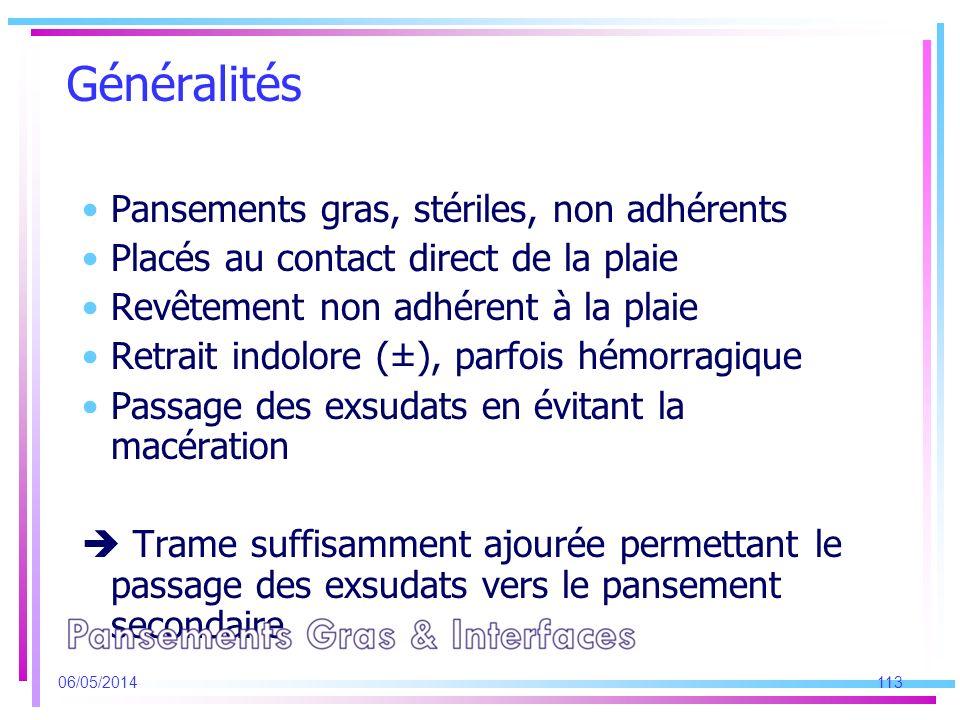Généralités Pansements gras, stériles, non adhérents