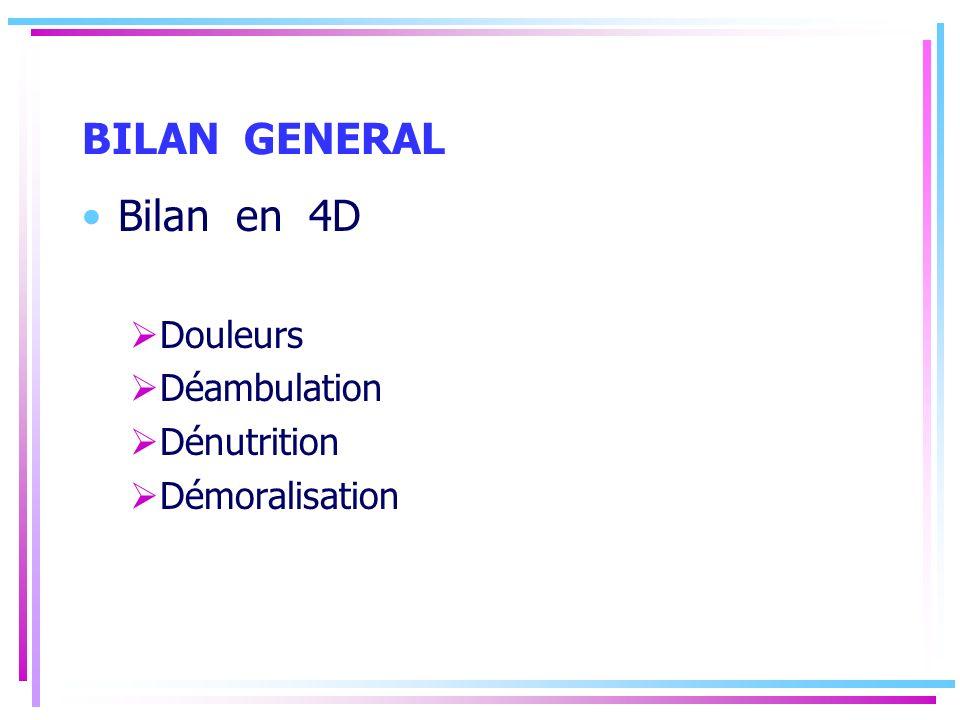 BILAN GENERAL Bilan en 4D Douleurs Déambulation Dénutrition