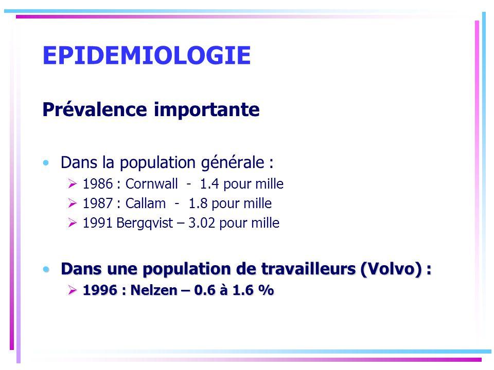 EPIDEMIOLOGIE Prévalence importante Dans la population générale :
