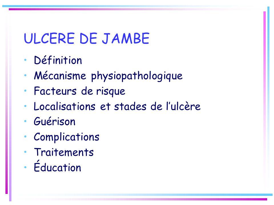 ULCERE DE JAMBE Définition Mécanisme physiopathologique