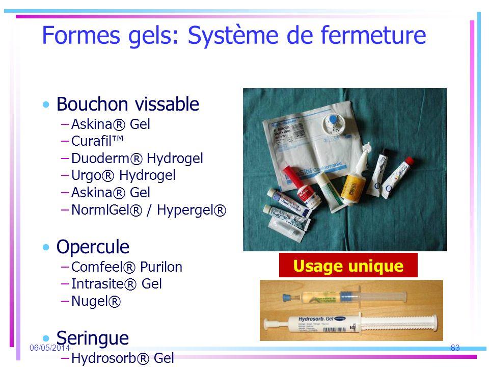 Formes gels: Système de fermeture