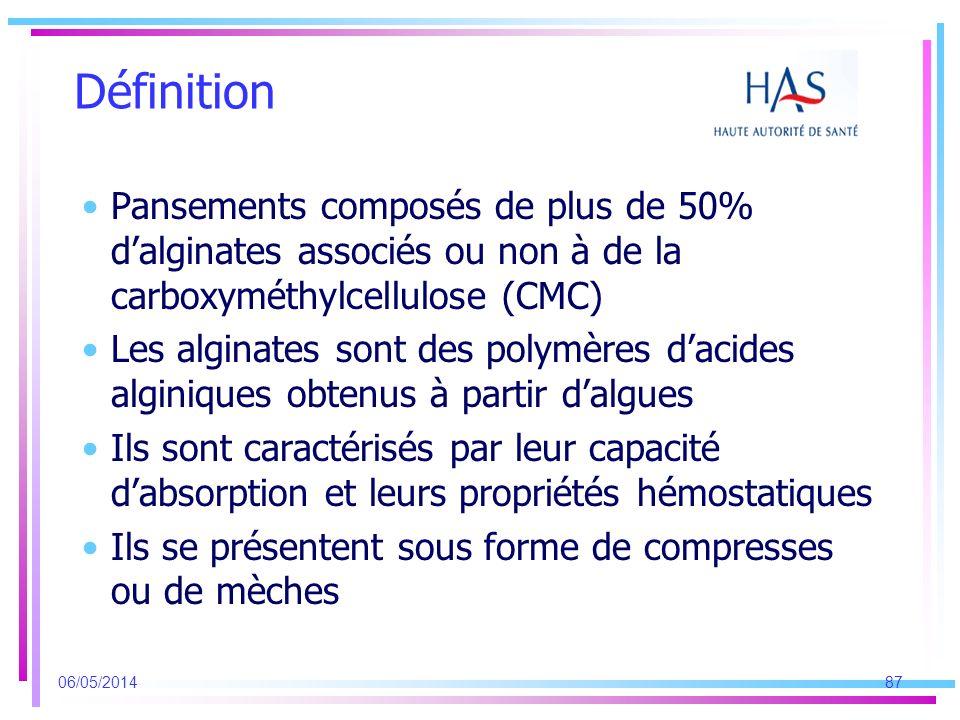 Définition Pansements composés de plus de 50% d'alginates associés ou non à de la carboxyméthylcellulose (CMC)