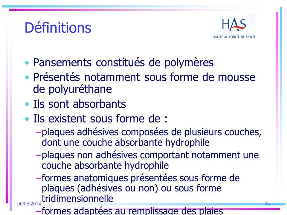 Définitions Pansements constitués de polymères