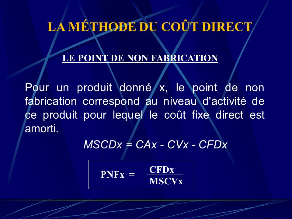 LA MÉTHODE DU COÛT DIRECT LE POINT DE NON FABRICATION