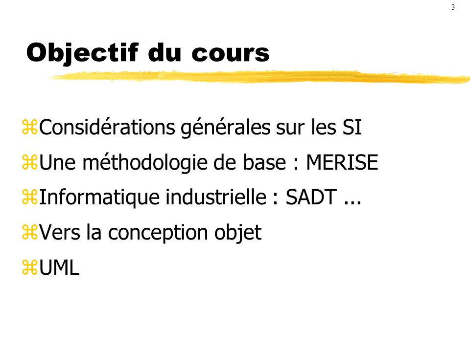 Objectif du cours Considérations générales sur les SI