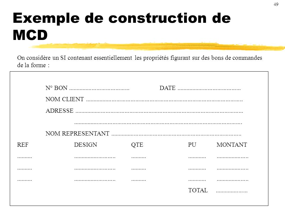Exemple de construction de MCD