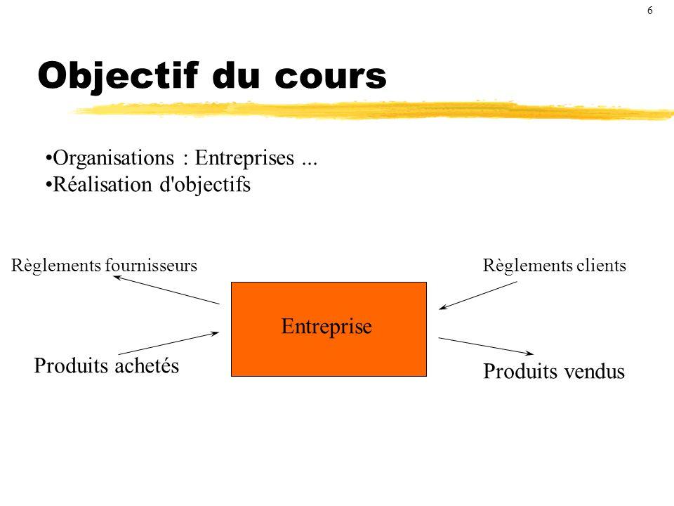 Objectif du cours Organisations : Entreprises ...