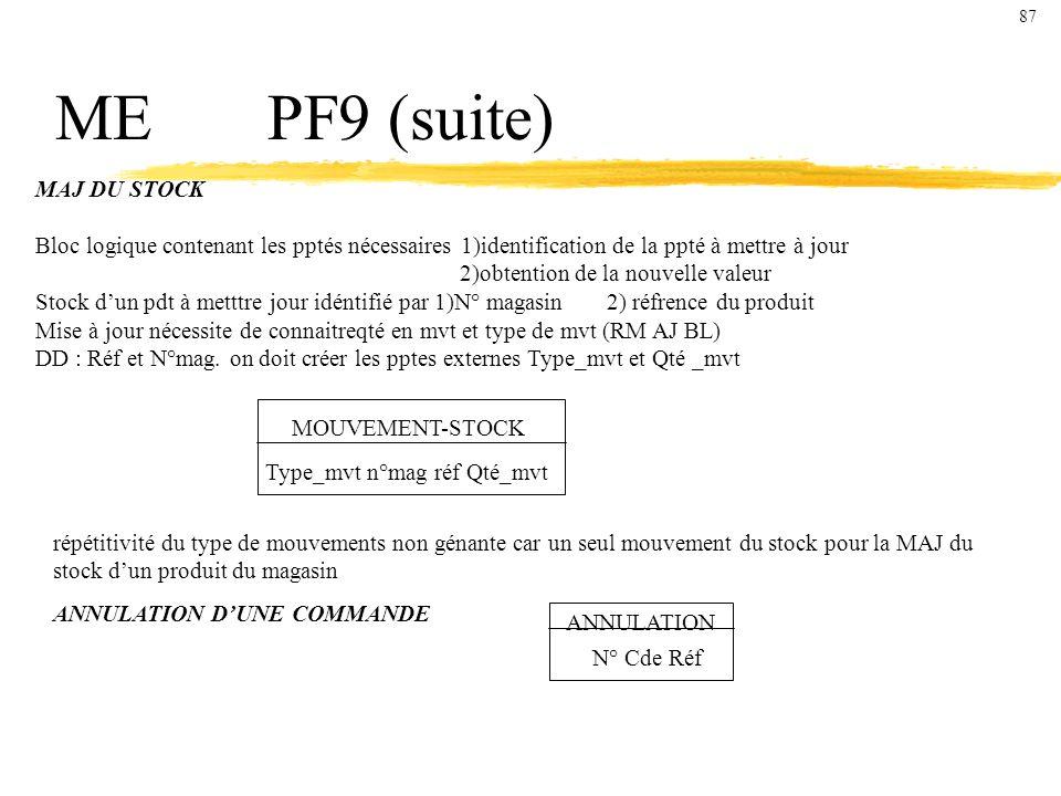 ME PF9 (suite) MAJ DU STOCK