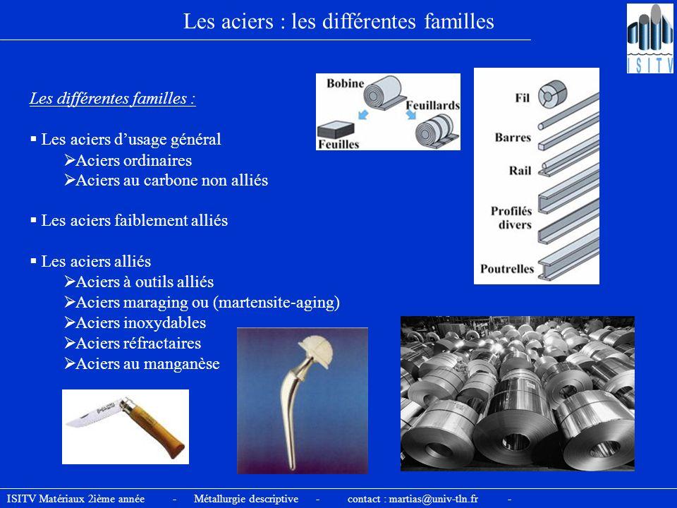 Les aciers : les différentes familles