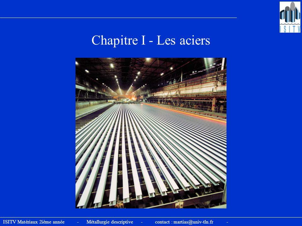Chapitre I - Les aciers ISITV Matériaux 2ième année - Métallurgie descriptive - contact : martias@univ-tln.fr -