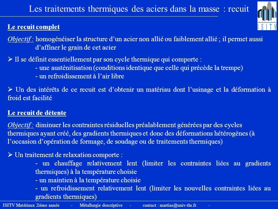 Les traitements thermiques des aciers dans la masse : recuit