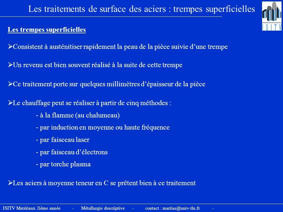 Les traitements de surface des aciers : trempes superficielles