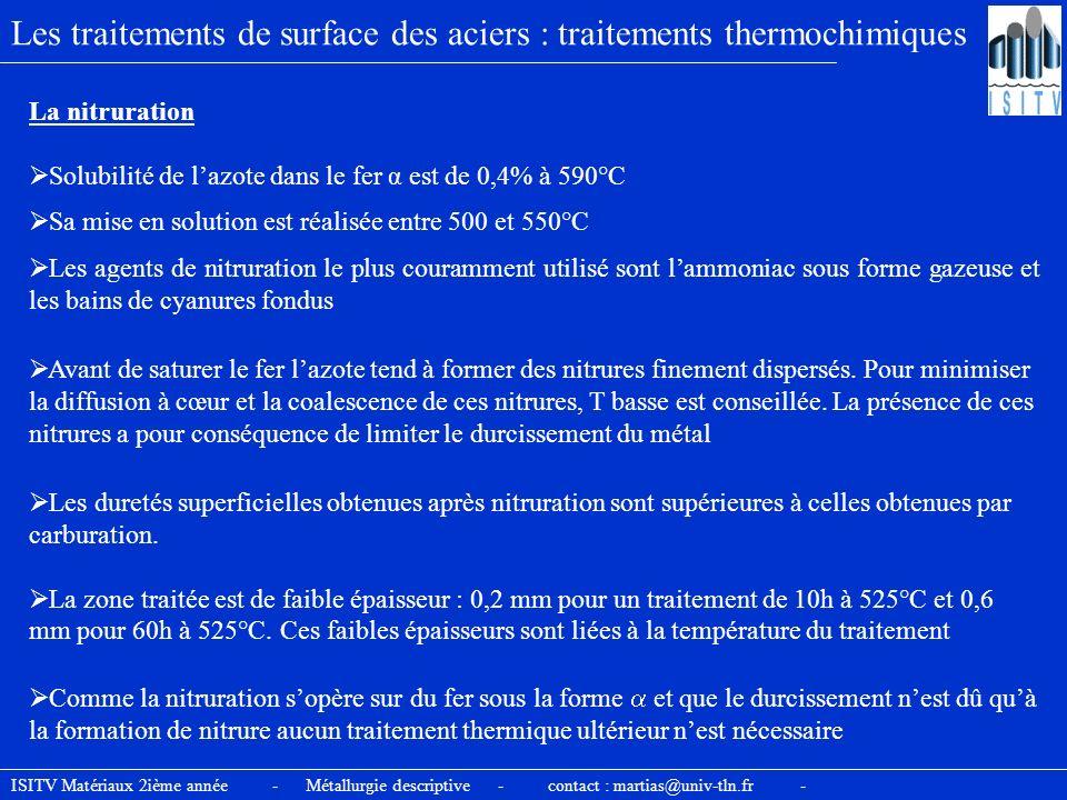 Les traitements de surface des aciers : traitements thermochimiques