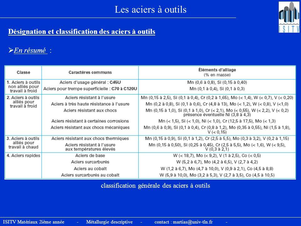 classification générale des aciers à outils