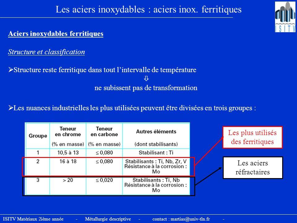 Les aciers inoxydables : aciers inox. ferritiques