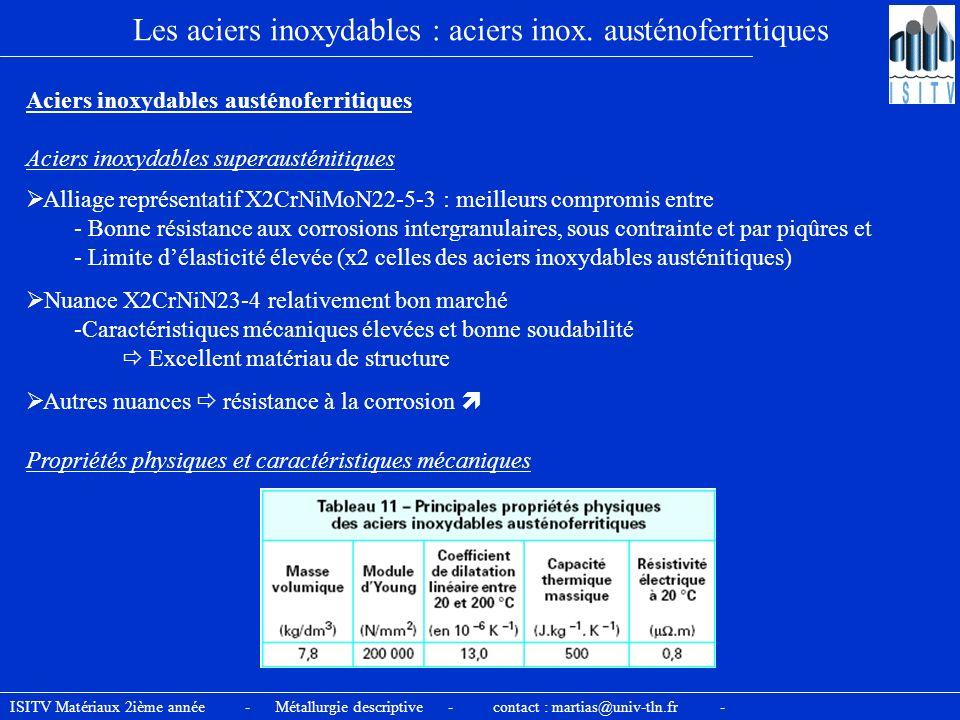 Les aciers inoxydables : aciers inox. austénoferritiques