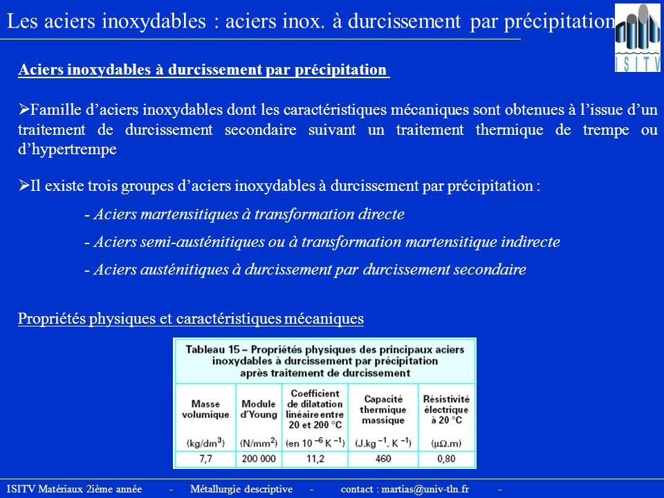 Les aciers inoxydables : aciers inox. à durcissement par précipitation